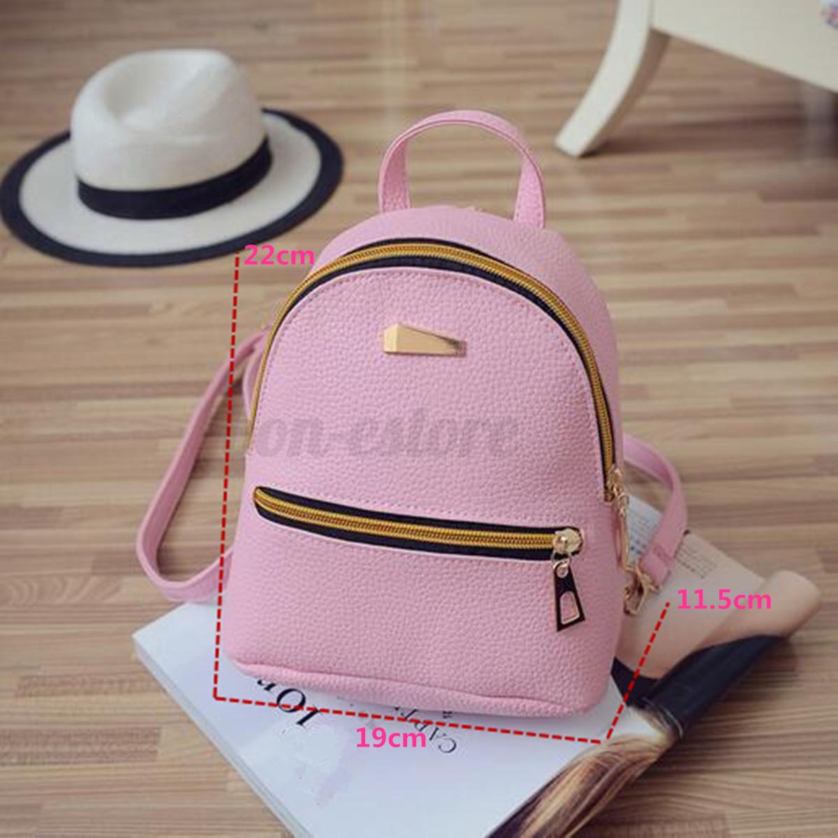 Women PU Leather School Bag Girl Small Backpack Travel ...