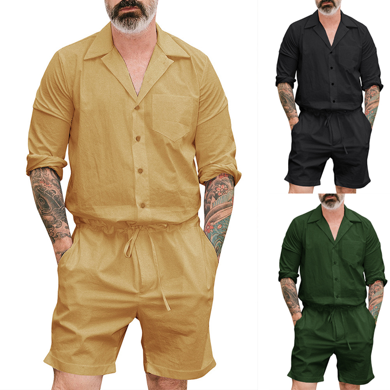 Summre Mens Short Sleeves Jumpsuits Loose Fit Rompers Overalls Cargo Trousers UK