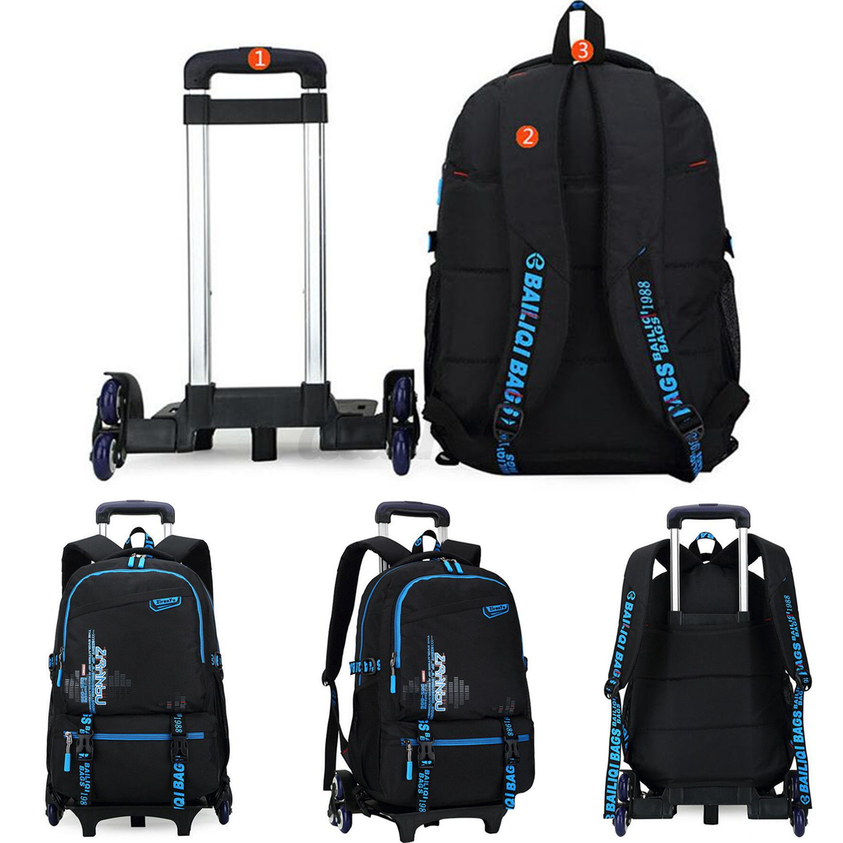 Trolley School Luggage Hand Bag with 6 Wheels Kids ...
