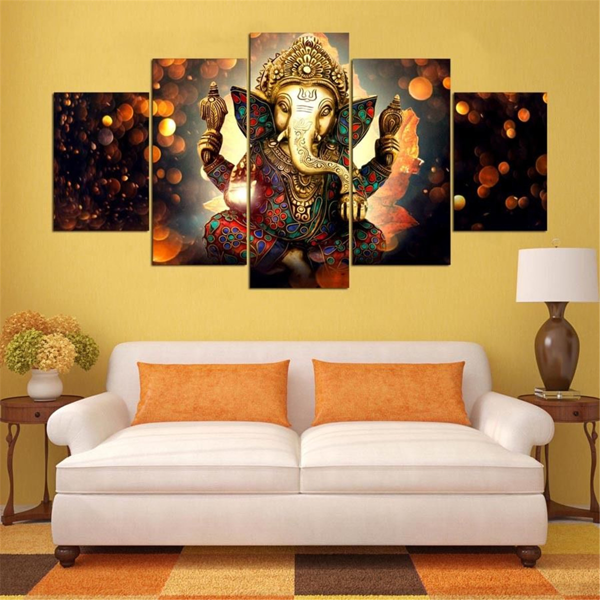 5PCS Ganesha Elk City Canvas Painting Print Modern Art Poster Wall ...