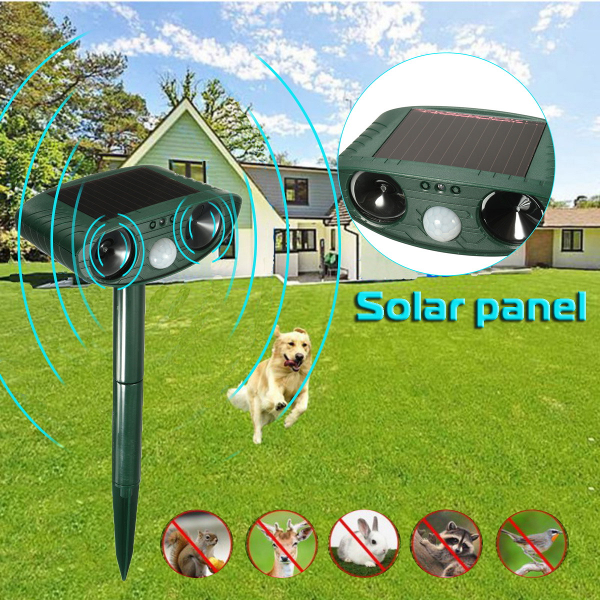 Outdoor Light Mole Destroyer Rodenticide Garden Garden Insect Pest 4 Pieces Of Solar Ultrasonic Sonic Mouse Led Light