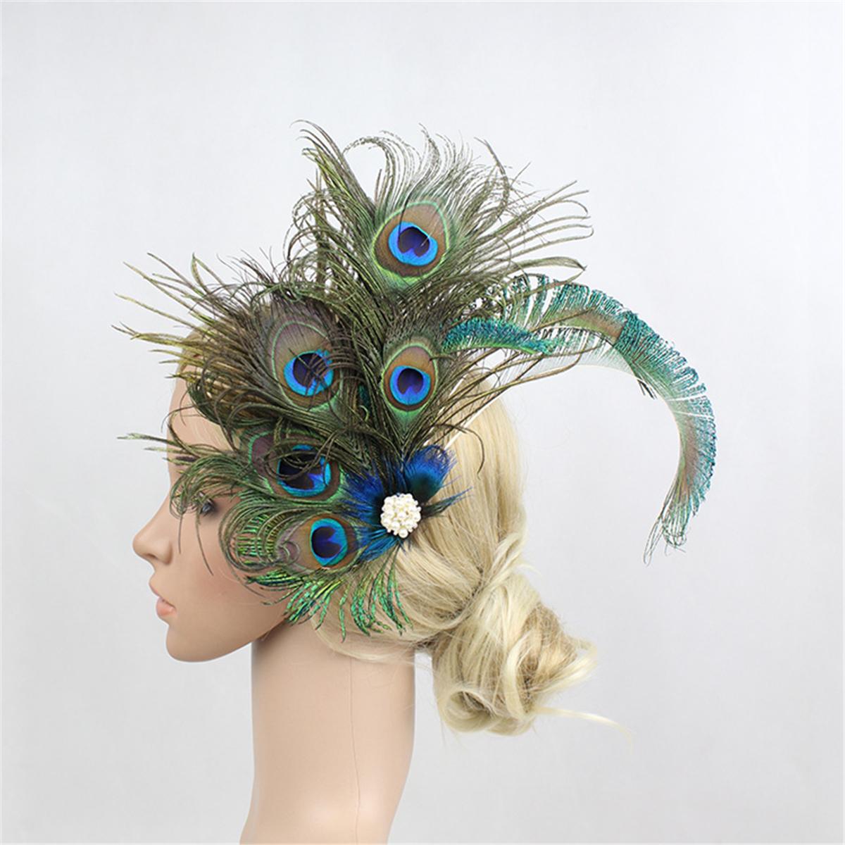 Peacock Headpiece For Wedding: Peacock Headpiece Flapper Costume Headband Headdress