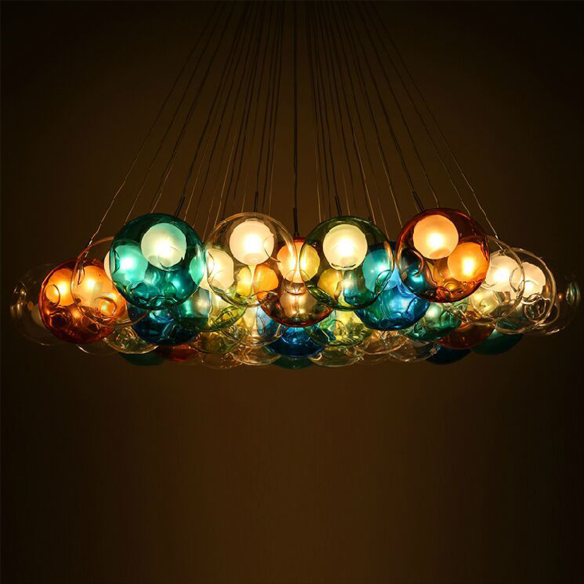 Modern Colorful Glass Bubbles Pendant Light Chandelier