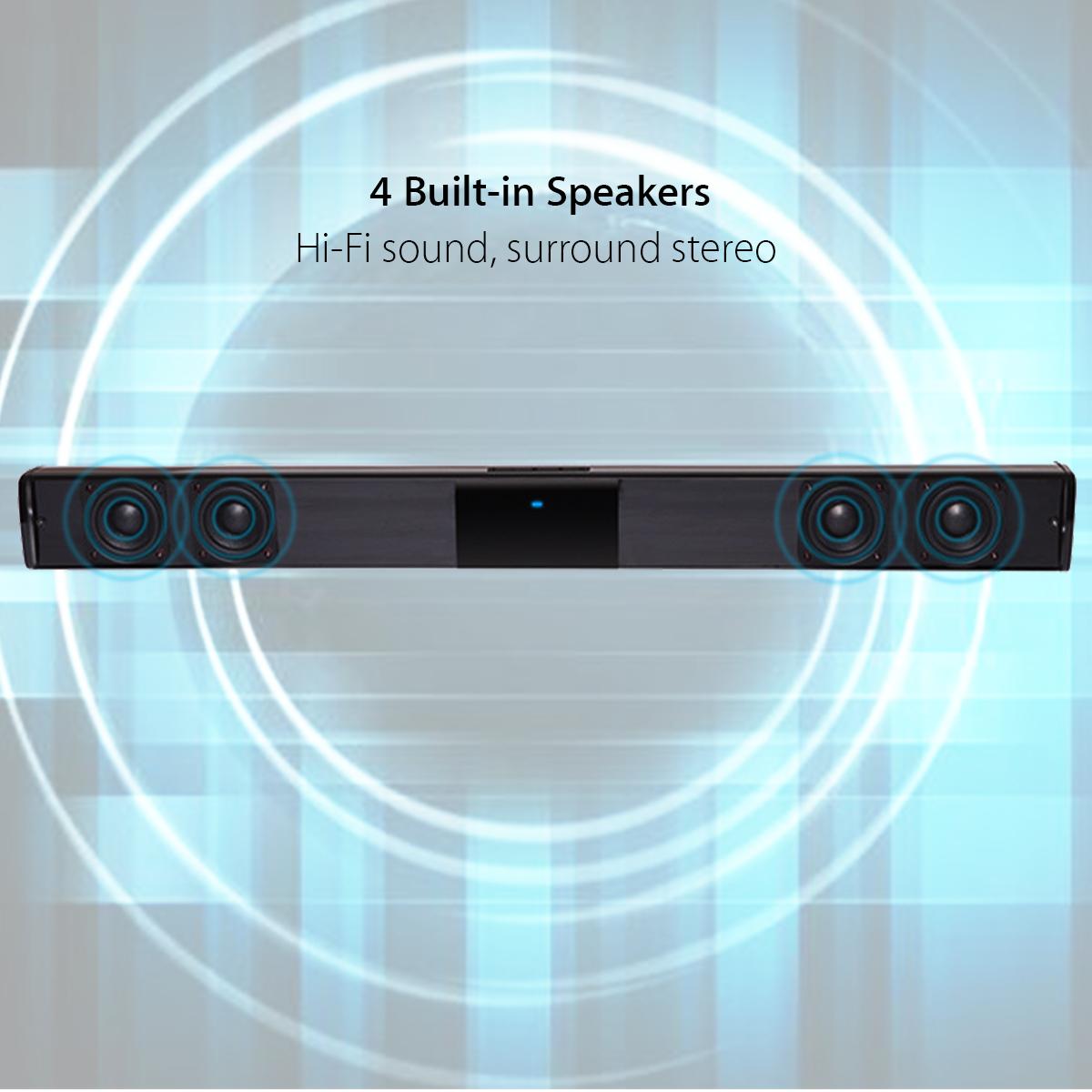 bluetooth SoundBar Wireless 4 Speaker HiFi Stereo Bass TV Home Theater