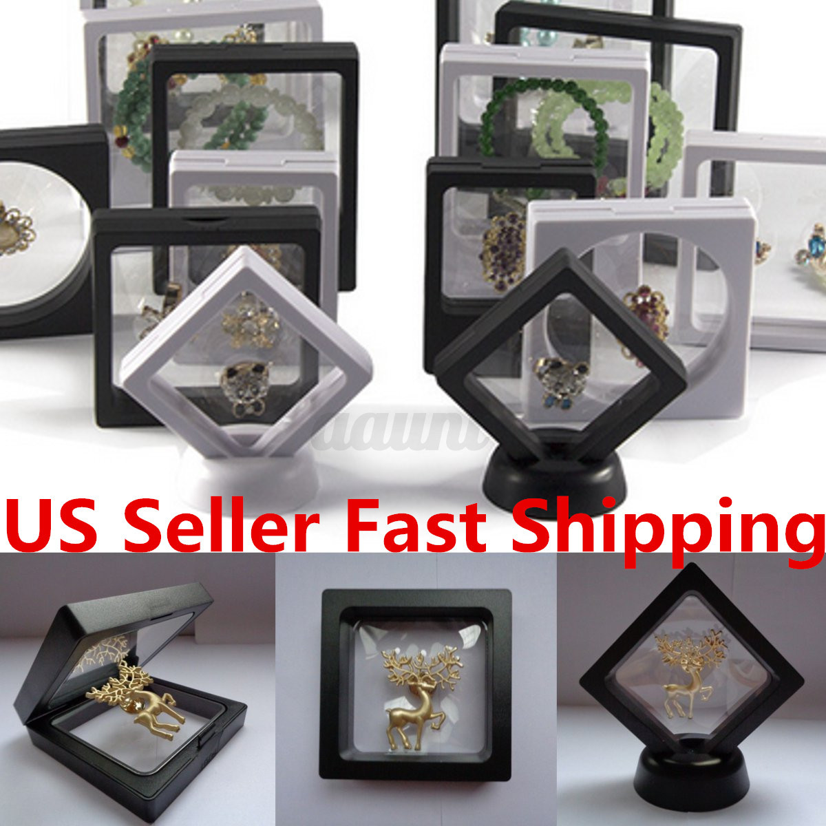 2 size square 3d albums floating frame holder coin box for Jewelry stand 3d model