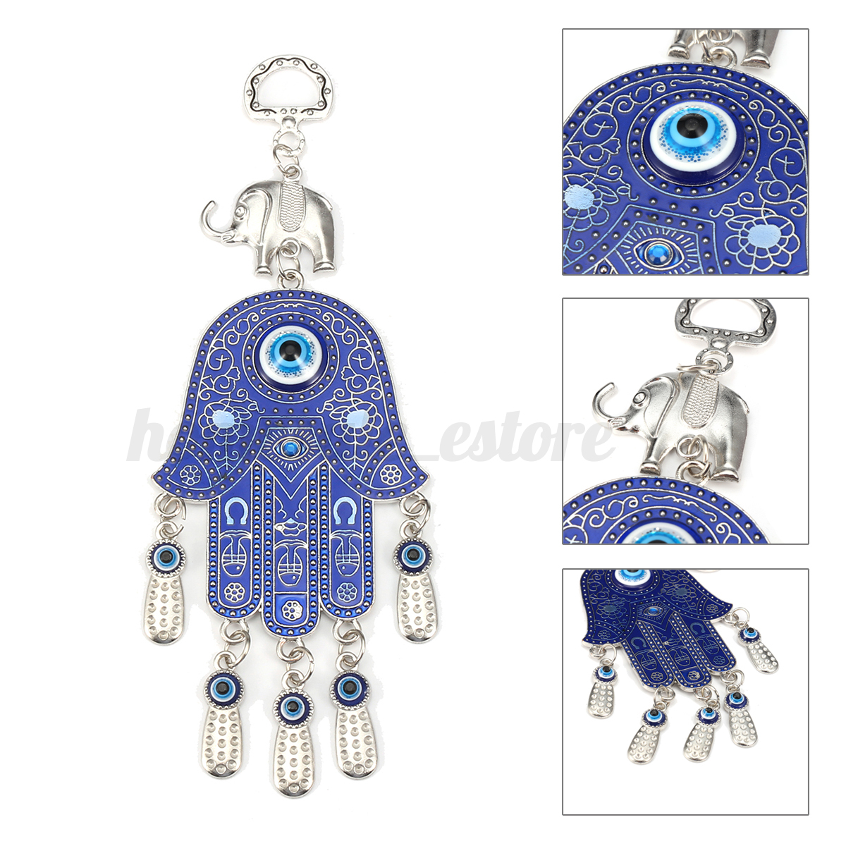 BLUE GLASS 3 BEADS 3 DEER TURKISH EVIL EYE KEY CHAIN RING AMULET PENDANT CHARM