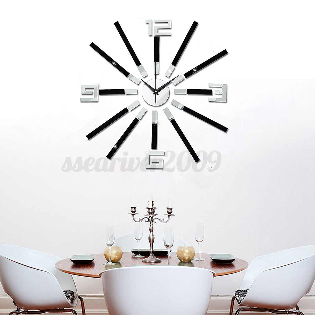 Large Number Wall Decor : Modern diy analog d mirror surface large number wall