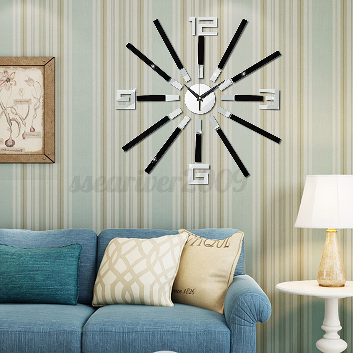 Modern diy analog 3d mirror surface large number wall clock sticker home decor ebay - Wall decor mirror home accents ...