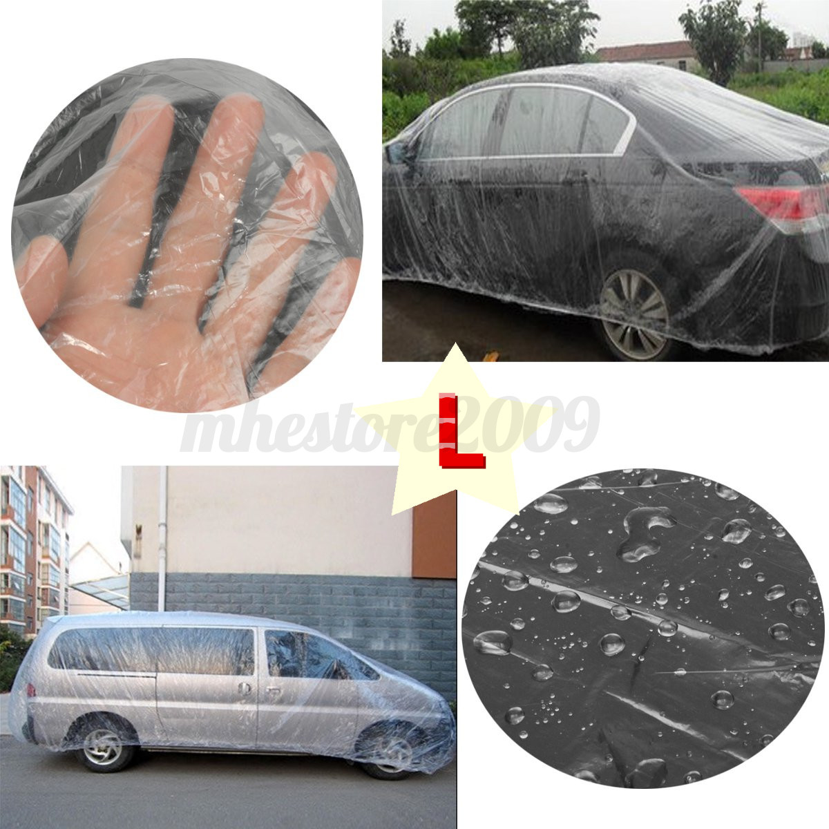 Plastic Covers Garages : Clear plastic temporary disposable universal suv car cover