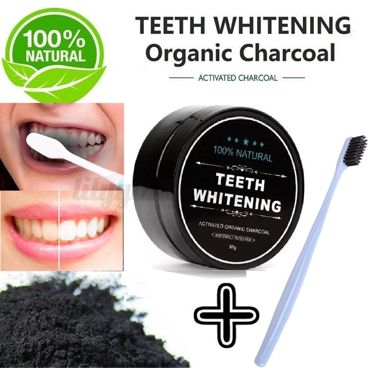 100 natural organic carbon coconut activated charcoal teeth whitening powder ebay. Black Bedroom Furniture Sets. Home Design Ideas