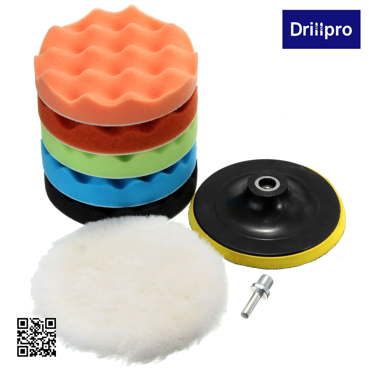 "7Pcs 3/5/6/7"" Sponge Polishing Waxing Buffing Pads Kit Set"