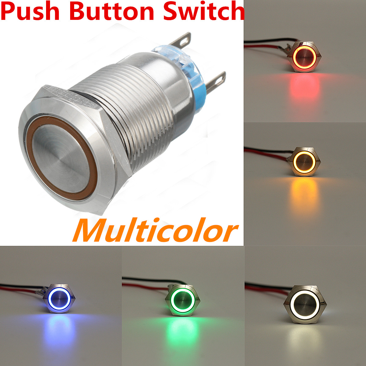 Silver 19mm 5 Pin Car Metal Led Light Momentary Push Button Switch Wiring Setup For Blue 22mm 12v Stainless Steel Image Is Loading