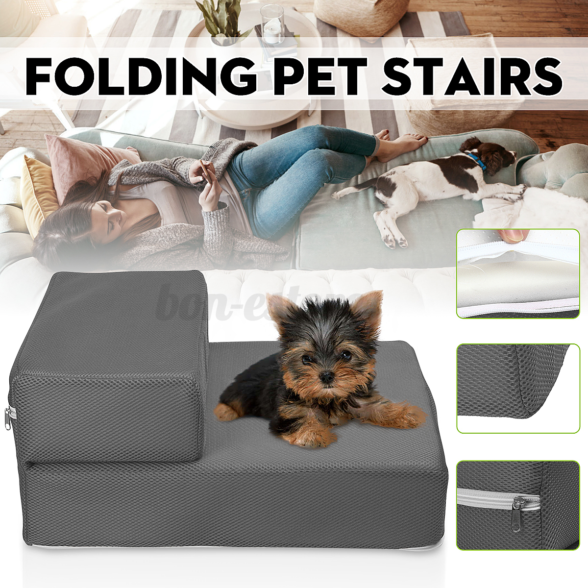 2 Steps Dog Pet Stairs Cat Step Indoor Folding Ramp Small Cl