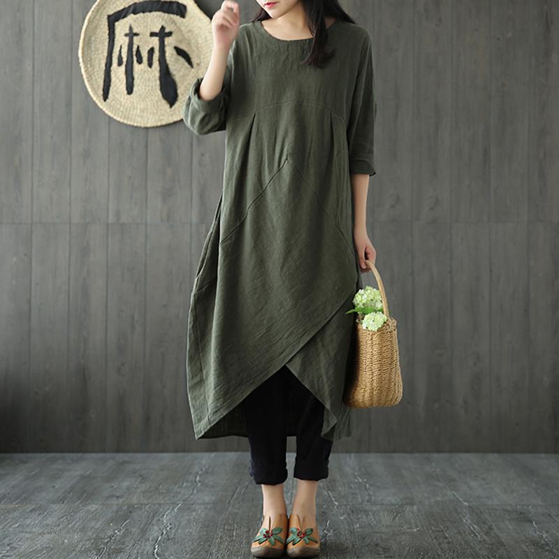 ZANZEA-Women-Vintage-A-Line-Cotton-Kaftan-Sundress-Plus-Size-Long-Maxi-Dress