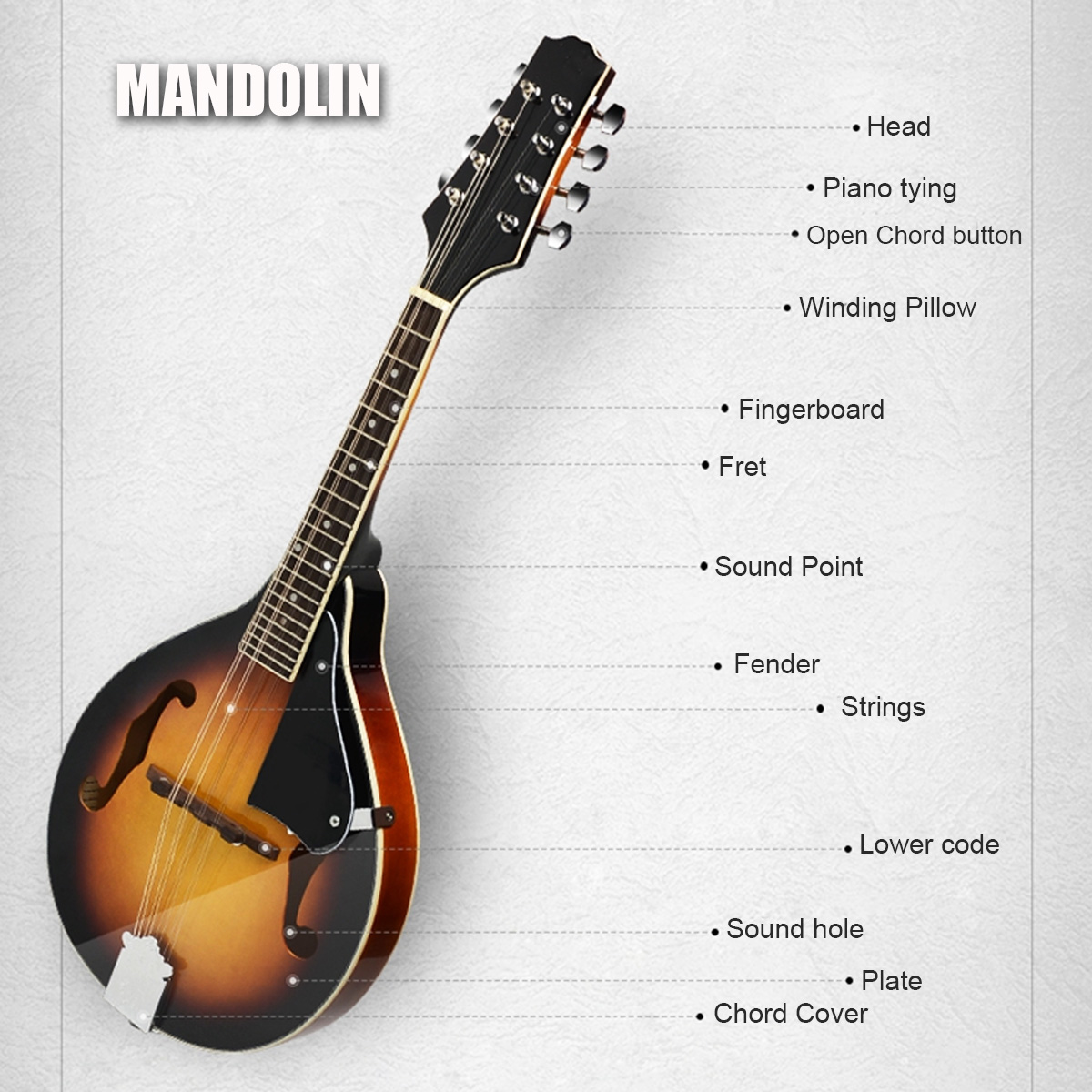 Sunset Rosewood Mandolin Acoustic Musical Instrument A Style 8