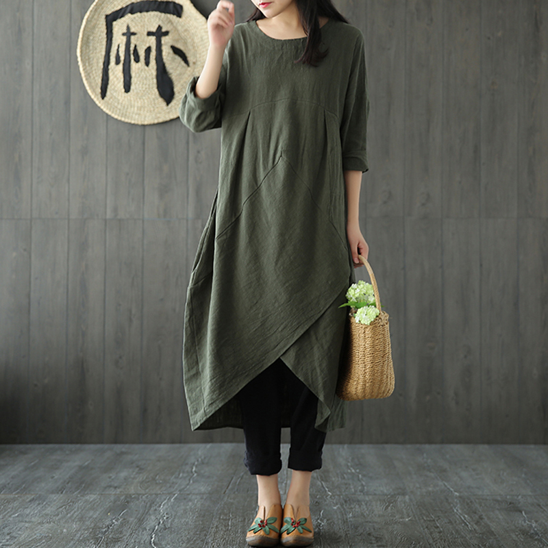 ZANZEA-8-24-Women-Long-Sleeve-Loose-Cotton-Kaftan-Sundress-Retro-Plus-Size-Dress
