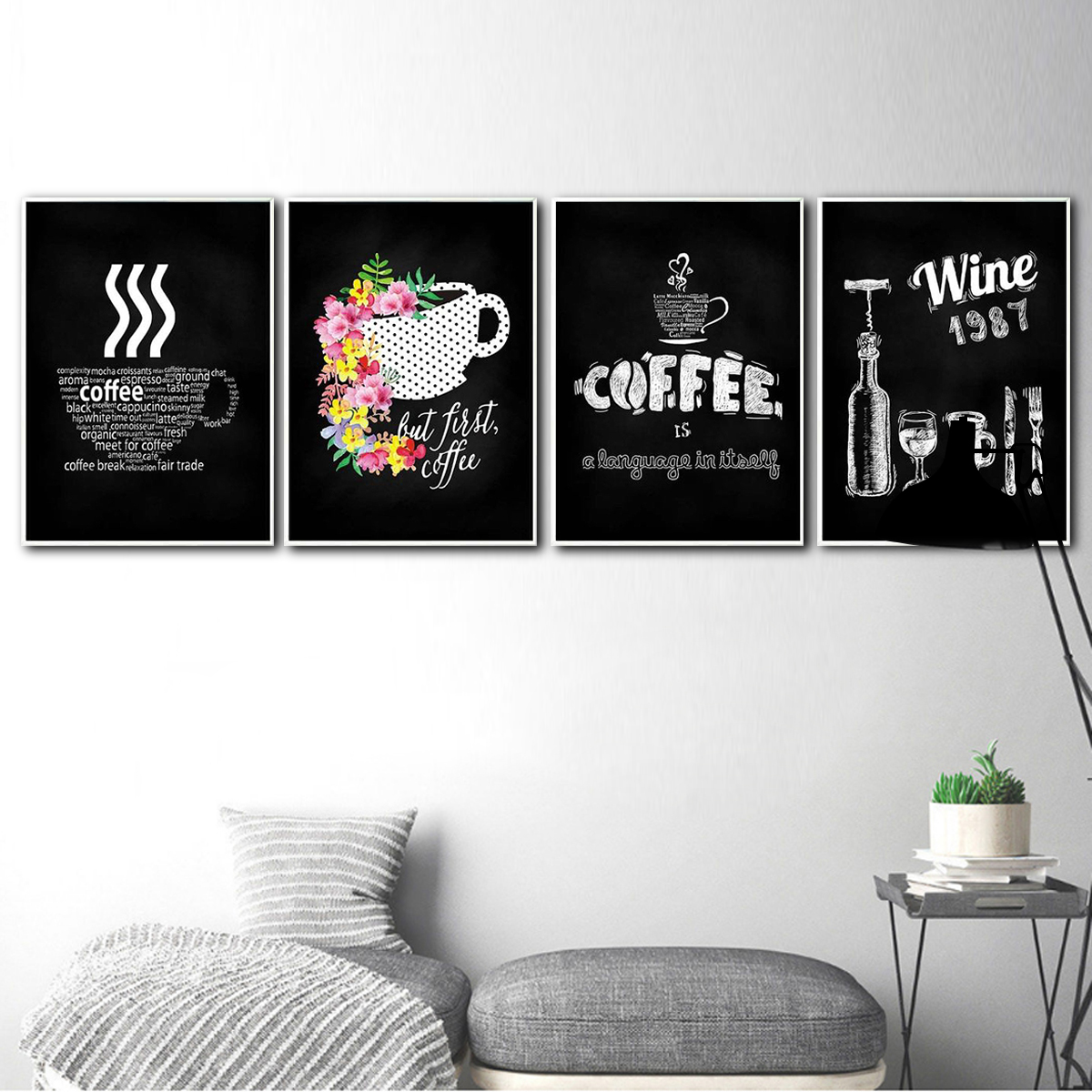 Details About Canvas Wine Coffee Painting Bar Cafe Kitchen Wall Decoration Poster Frameless