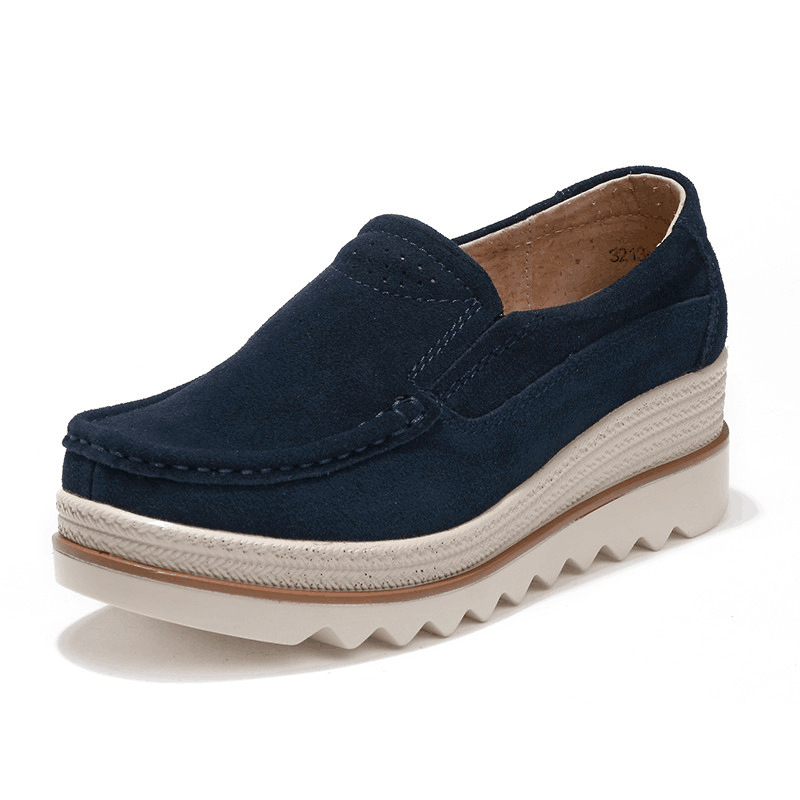 Details about Womens Breathable Suede Round Toe Slip On Platform Shoes Wedge  Casual Creepers 8ac850c25d2f