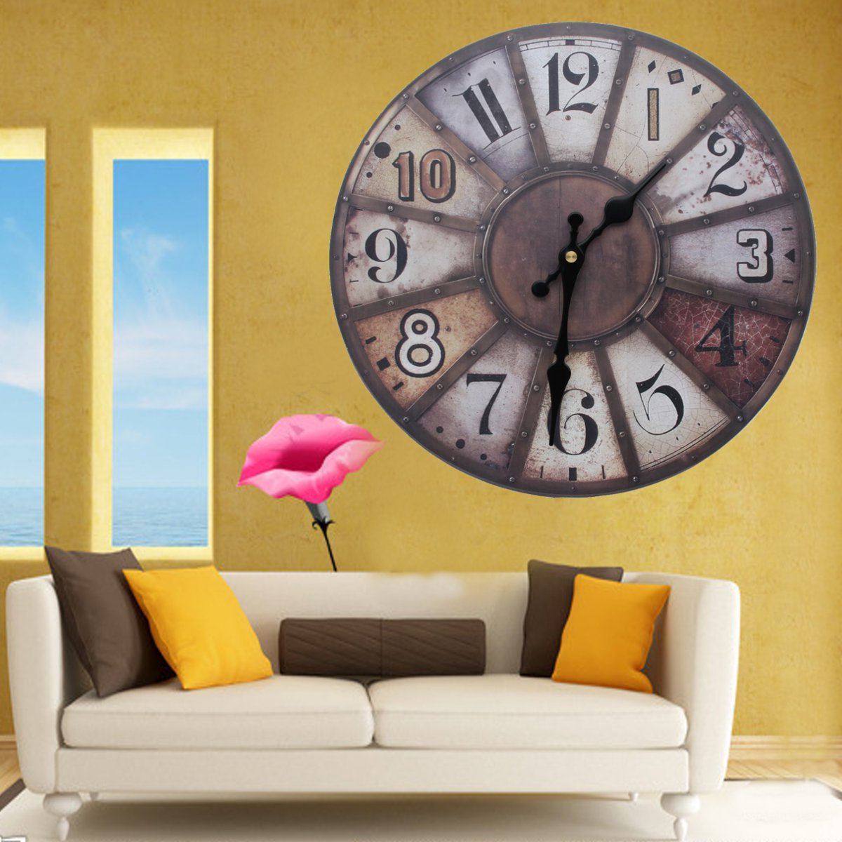 12\'\' Silent Vintage Rustic Wooden Round Wall Clock Retro Home ...