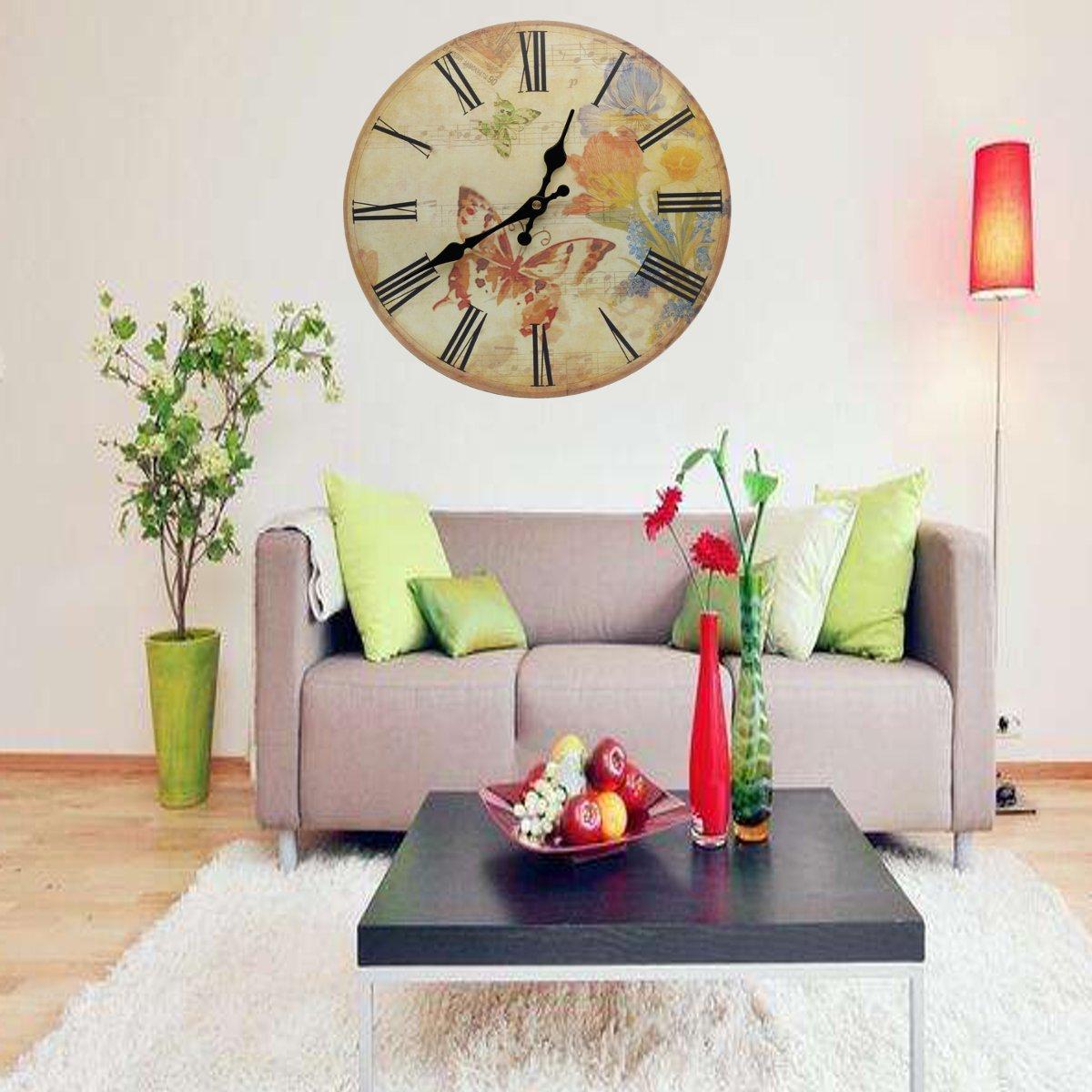 Kitchen Room Decor: 12'' Silent Vintage Rustic Wooden Round Wall Clock Retro