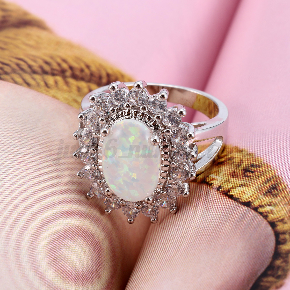 Natural White AUSTRALIAN FIRE Jewelry Gem Silver RING SIZE 6/7/8/9 ...