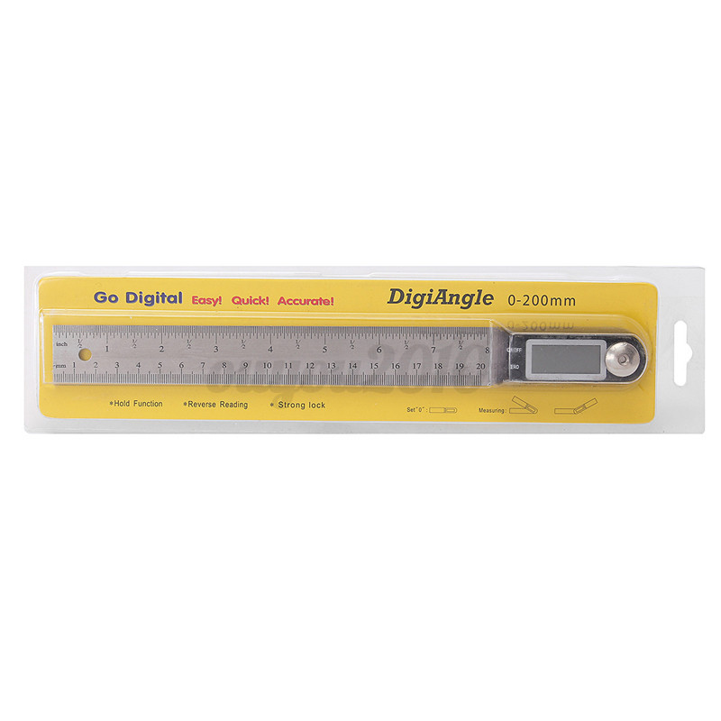 200mm Stainless Electronic Ruler Scale Angle Finder