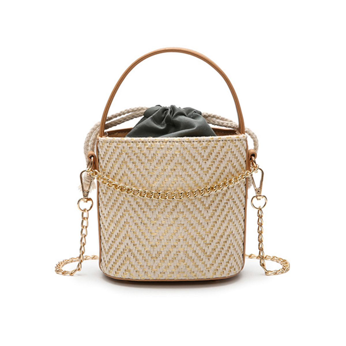 Women-Straw-Bucket-Handbag-Portable-Beach-Solid-Travel-Messenger-Crossbody-Bag