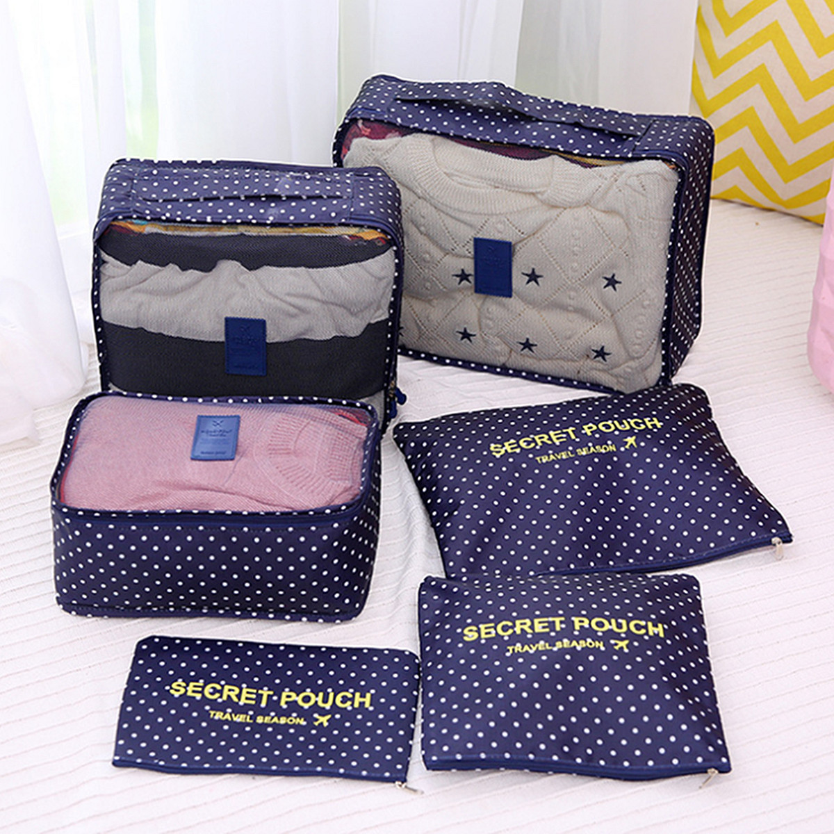 6pcs v tements sous v tements cube rangement organiseur de sac voyage bagage bag ebay. Black Bedroom Furniture Sets. Home Design Ideas