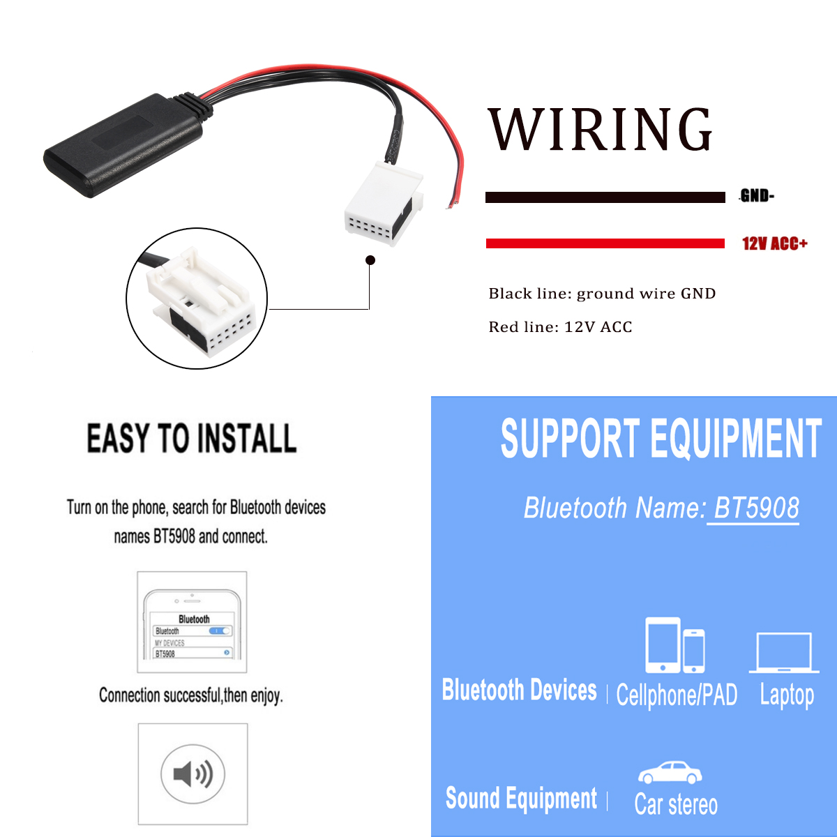 Bluetooth Audio Adapter Cable For VW MCD RNS 510 RCD 200