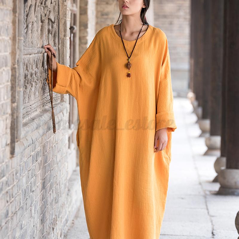 ZANZEA Women Vintage Long Sleeve Batwing Casual Solid Long Maxi Dress Baggy Plus