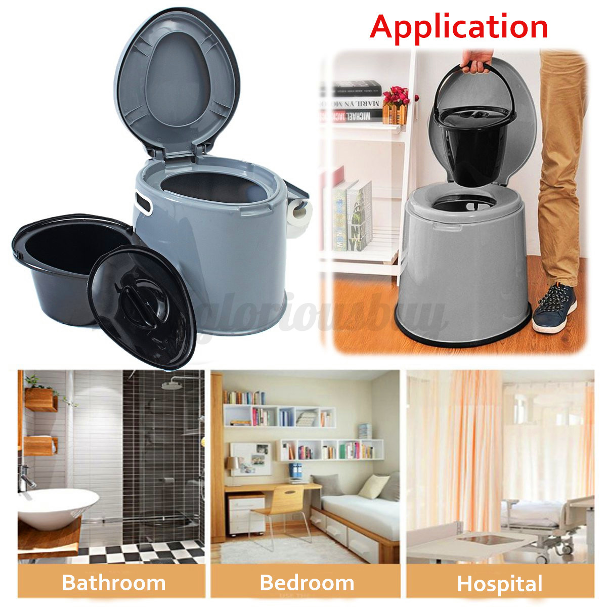 Portable Large Toilet Flush Travel Camping  Hiking Outdoor Indoor Potty Commode !  70% off
