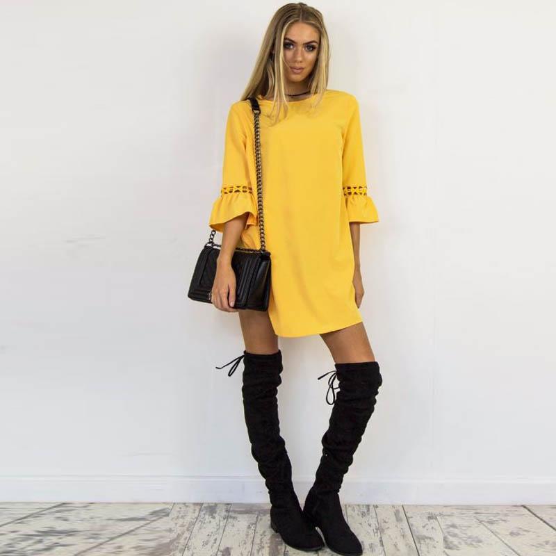 Women-Plus-Size-Bell-Sleeve-Sundress-Club-Party-Beach-Solid-Basic-Short-Dress