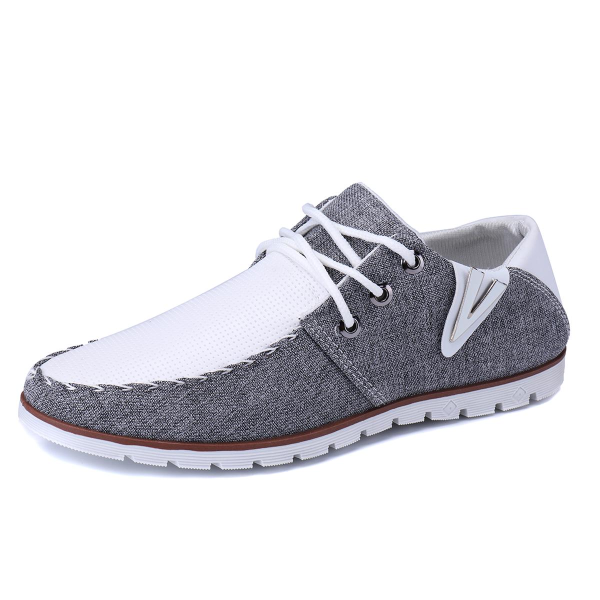 HTAO Mens Casual Splice Flat Boat Slip On Walking Shoes