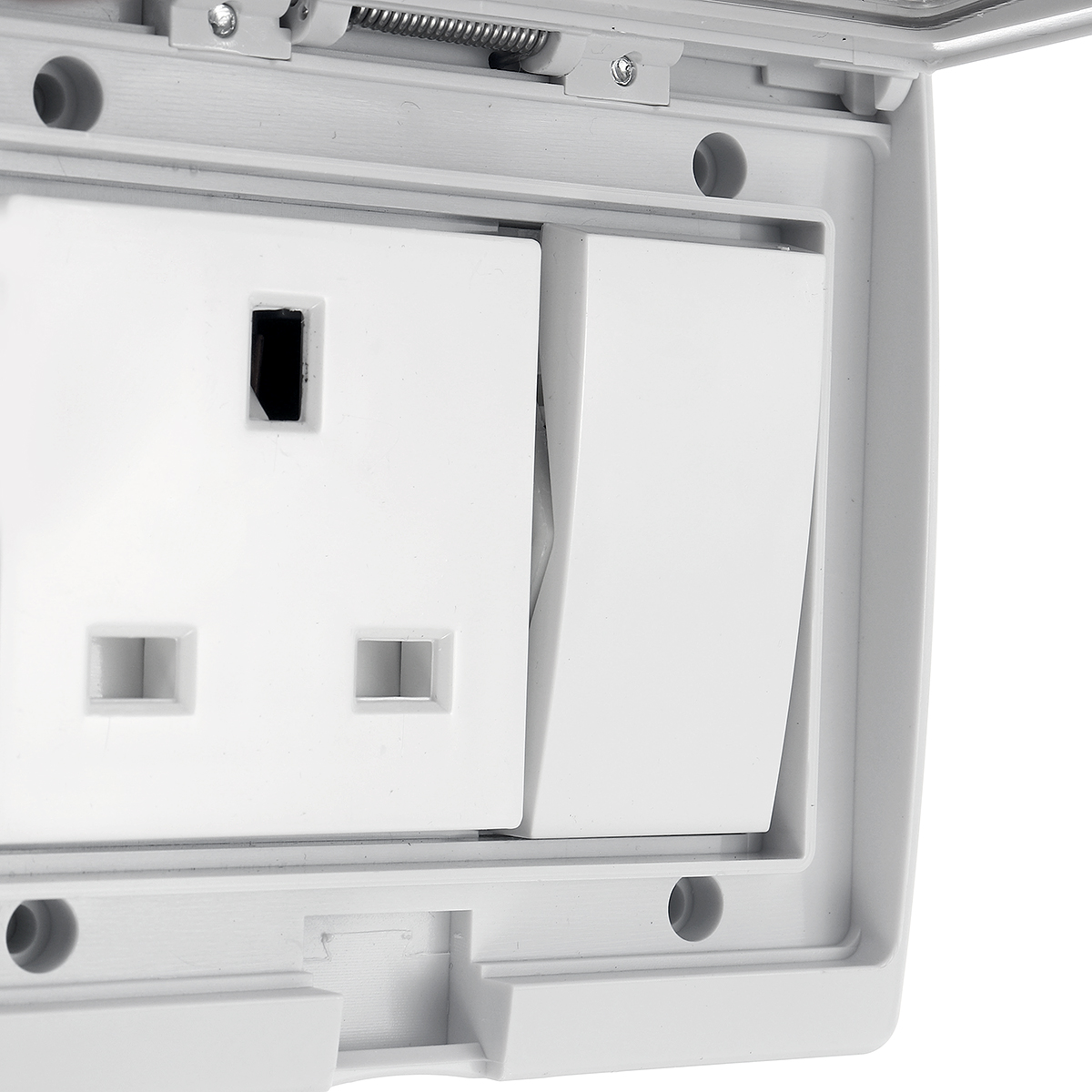 IP55 250V 13A Plug Socket Storm Switched w/ Cover ...
