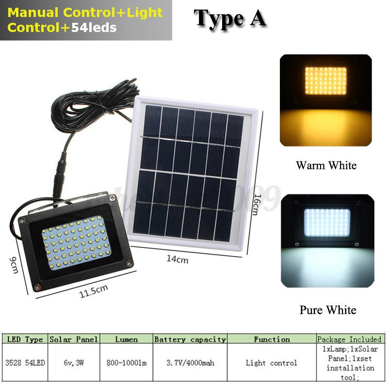 12-54-120-150-LED-Lampe-Solaire-Lumiere-Projecteur-Capteur-Jardin-Securite-IP65