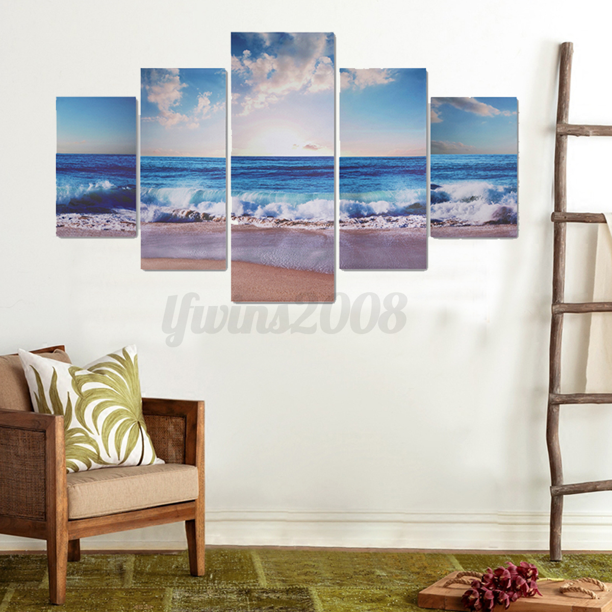 5tlg landschaft leinwand bild kunstdruck wandbilder bilder set deco neu ebay. Black Bedroom Furniture Sets. Home Design Ideas
