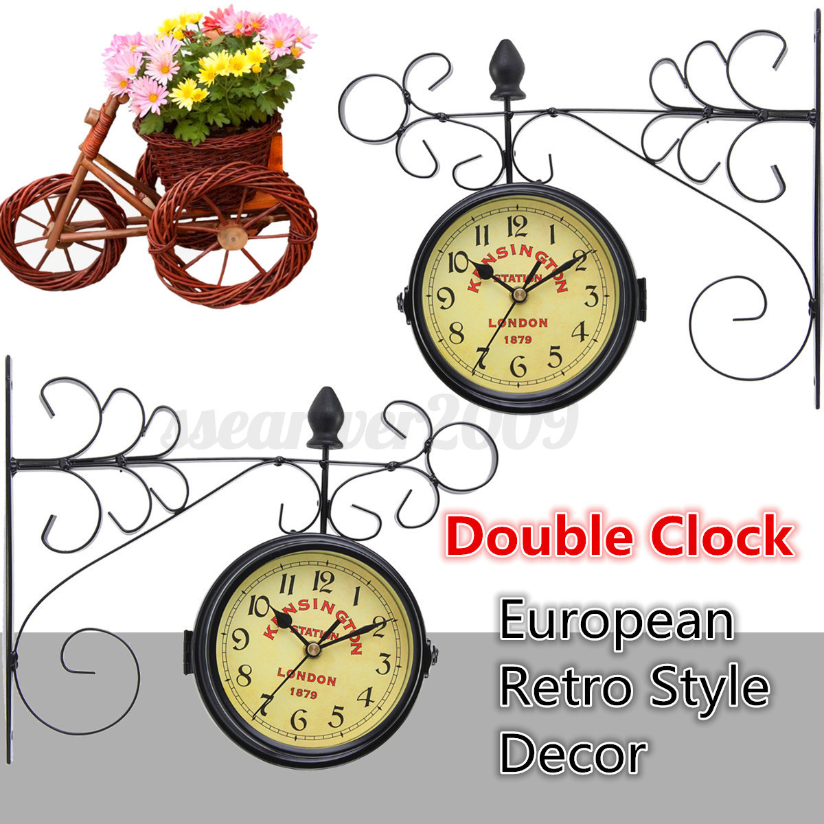 Antique Double Sided Wall Mount Station Clock Garden