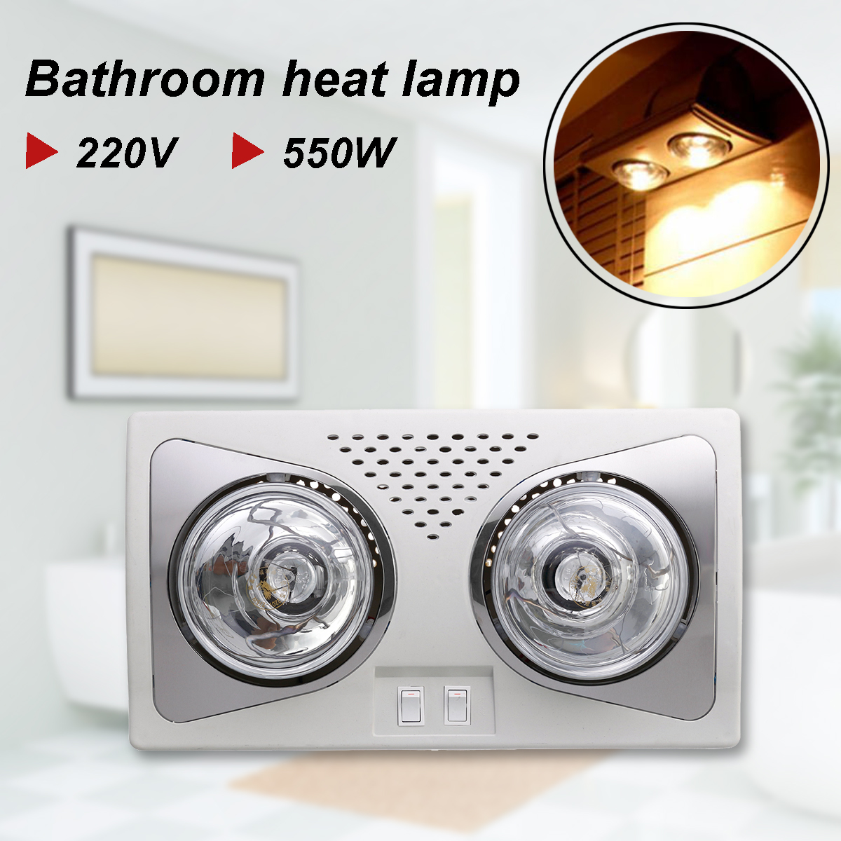 550w Bathroom Ceiling Light Heater Bath 2 Heat Lamp Fan