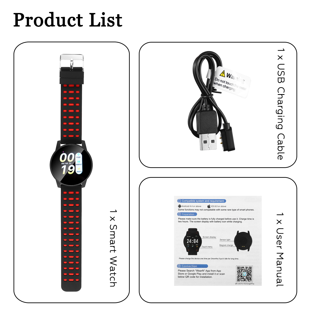 Details about Smart Watch Bracelet Wristband Heart Rate Blood Pressure  Monitor Fitness Tracker