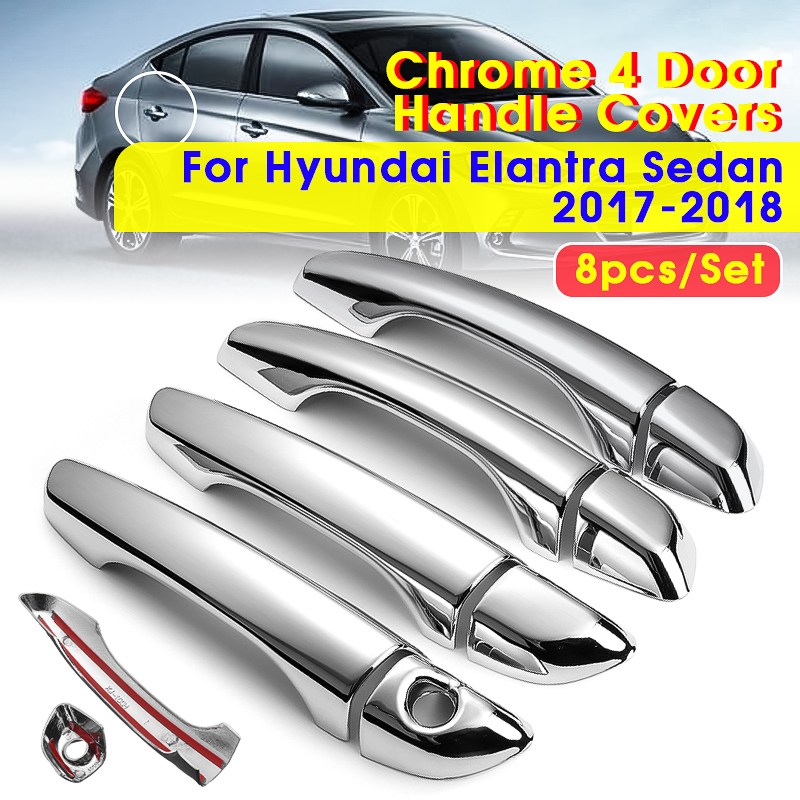 Exterior Door Handle For 2011-2014 Hyundai Elantra Set of 2 Rear Sedan Chrome