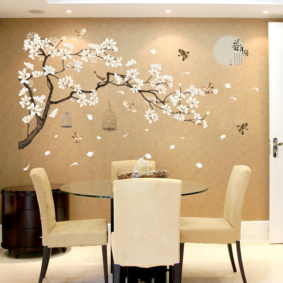 White Blossom Tree Branch Wall Art Stickers Cherry Blossom Decals