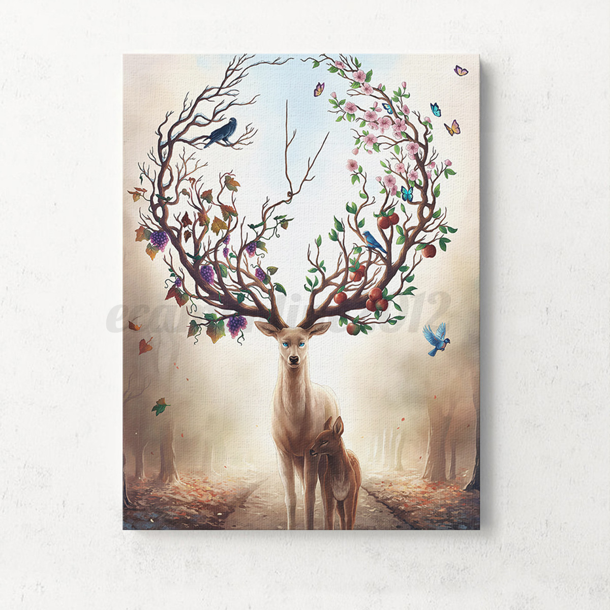 Home Decor Wall Art Unframed Canvas Print Deer Design Modern Home Decor Wall Art