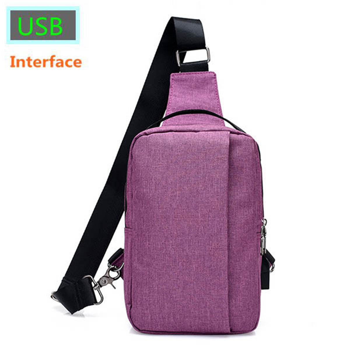Women-Men-Nylon-USB-Port-Chest-Shoulder-Bag-School-Handbag-Crossbody-Tote-Pack