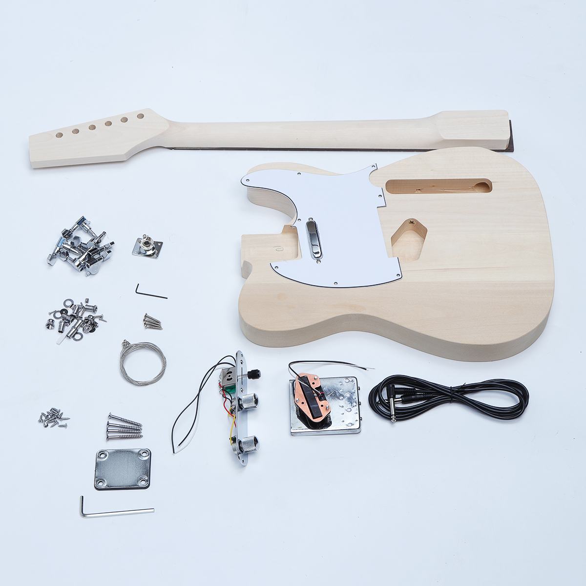 style unfinished diy electric guitar accessories kit beech wood body maple ebay. Black Bedroom Furniture Sets. Home Design Ideas