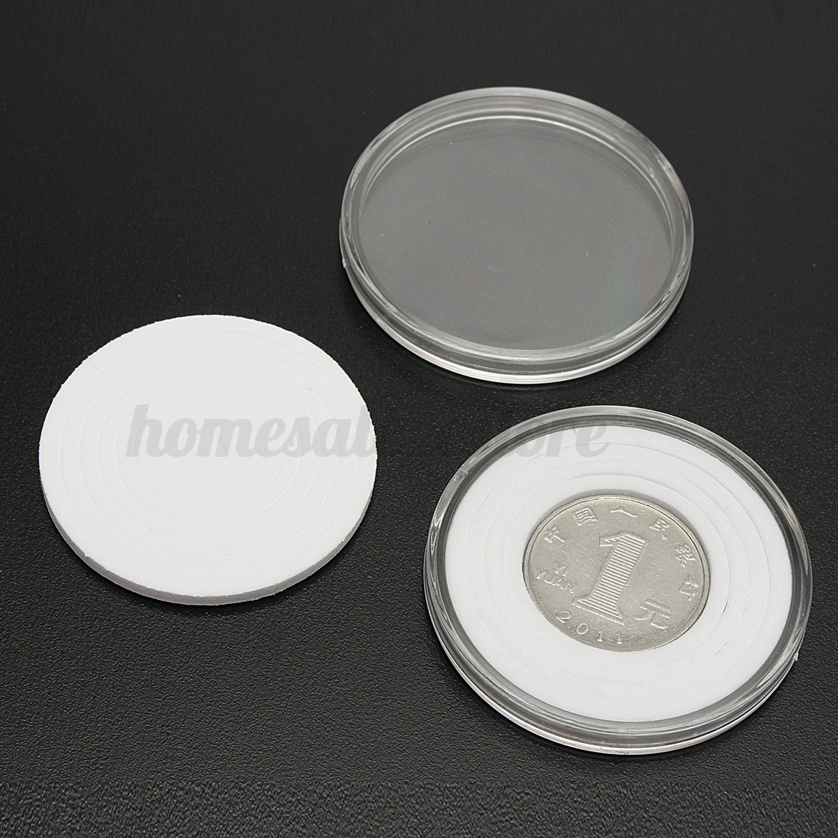 20x clear round coins holders 46mm portable storage case for Case container 974