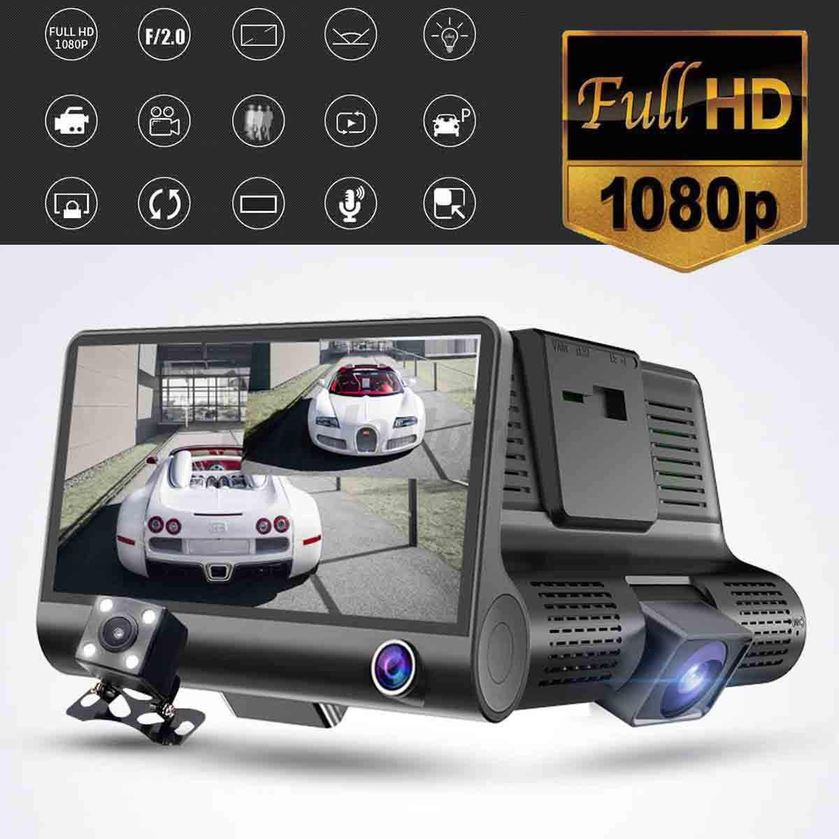 4inch hd 1080p 3 lens car dvr