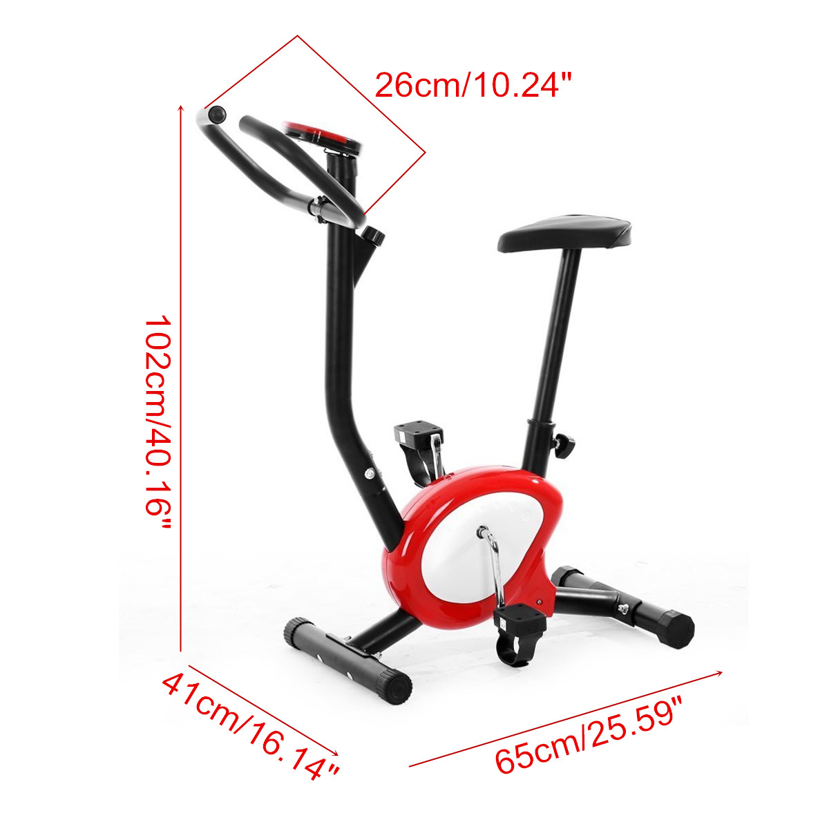 Exercise Bike Stationary Cycling Bicycle Cardio Home Gym Training Fitness Red