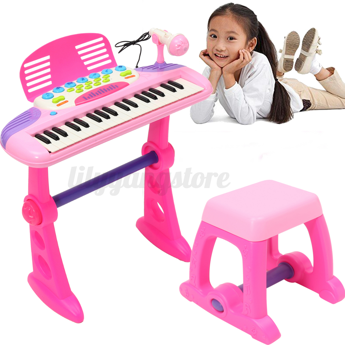 Pink Kids Electronic Keyboard 37 Key Piano Musical Toy w// Microphone/&Stool Gift