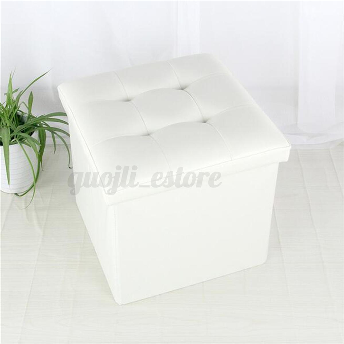 Folding-Ottoman-Sofa-Storage-Cube-Footstool-Stool-Blanket-Box-Leather-Linen-New
