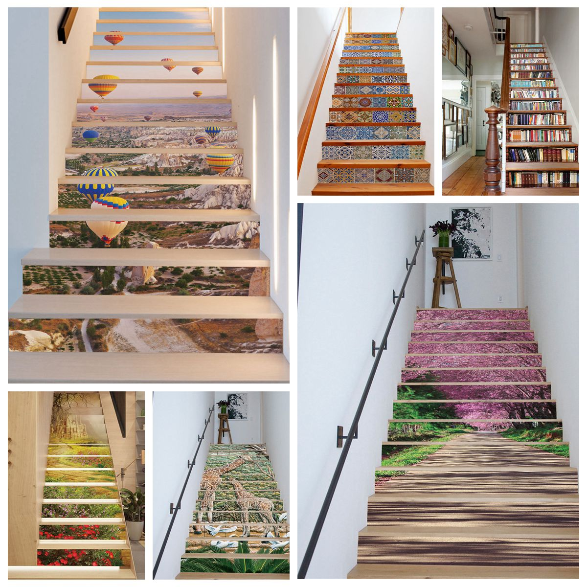 13stk 3d treppen treppenhaus tapete aufkleber sticker t r dekoration 18x100cm ebay. Black Bedroom Furniture Sets. Home Design Ideas